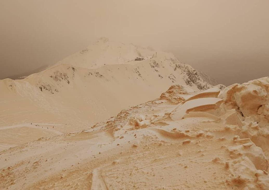 Bizarre Orange Snow Blankets Eastern Europe - Czech Points