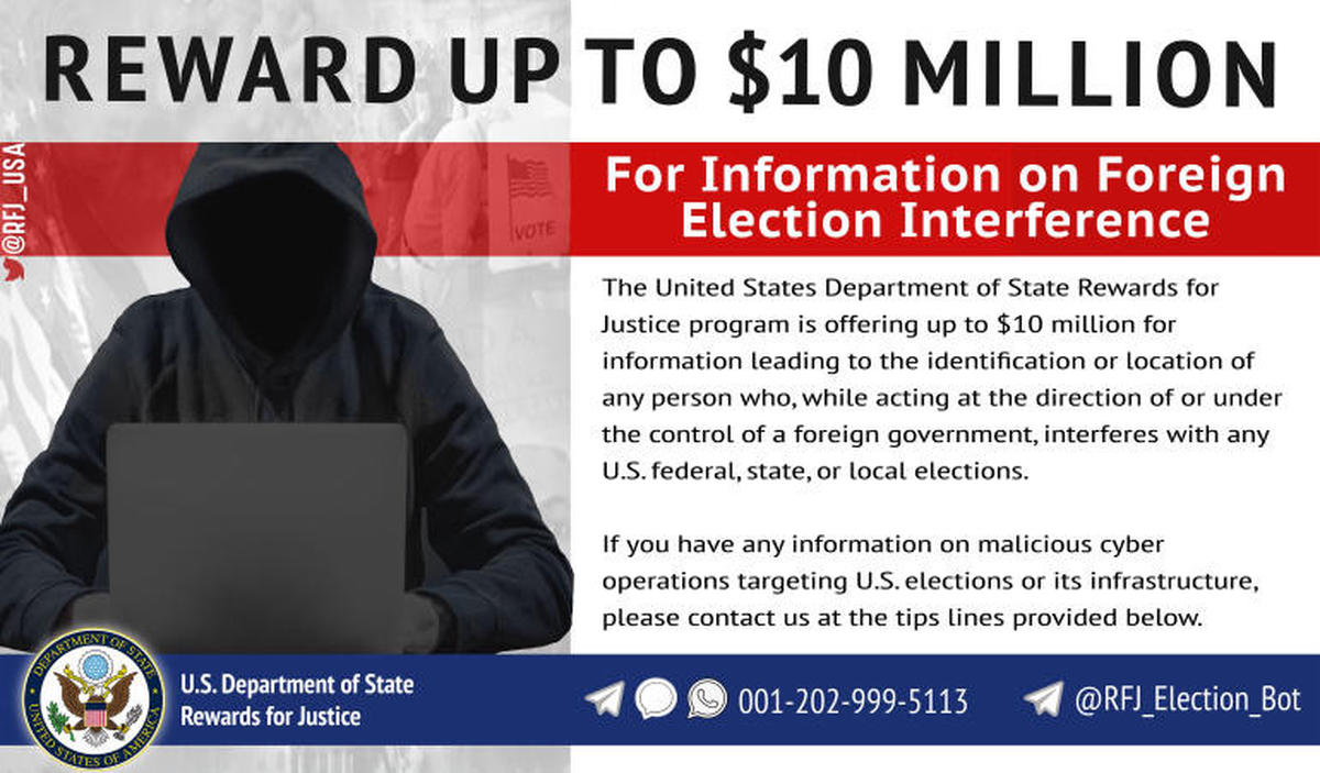 US offers $10M reward for election interference tips - Czech Points