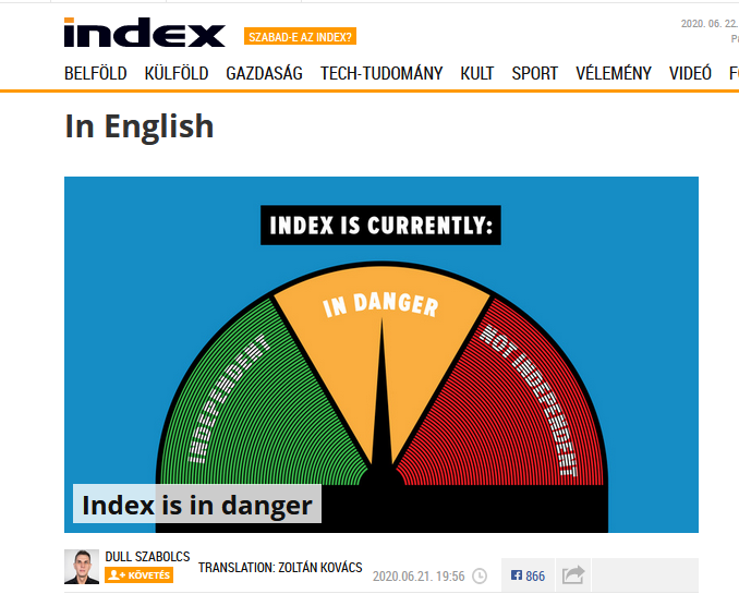 Hungary's main online news site Index.hu says independence 'in danger' - Czech Points